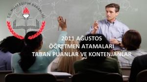 2011 Ağustos Öğretmen Atamaları